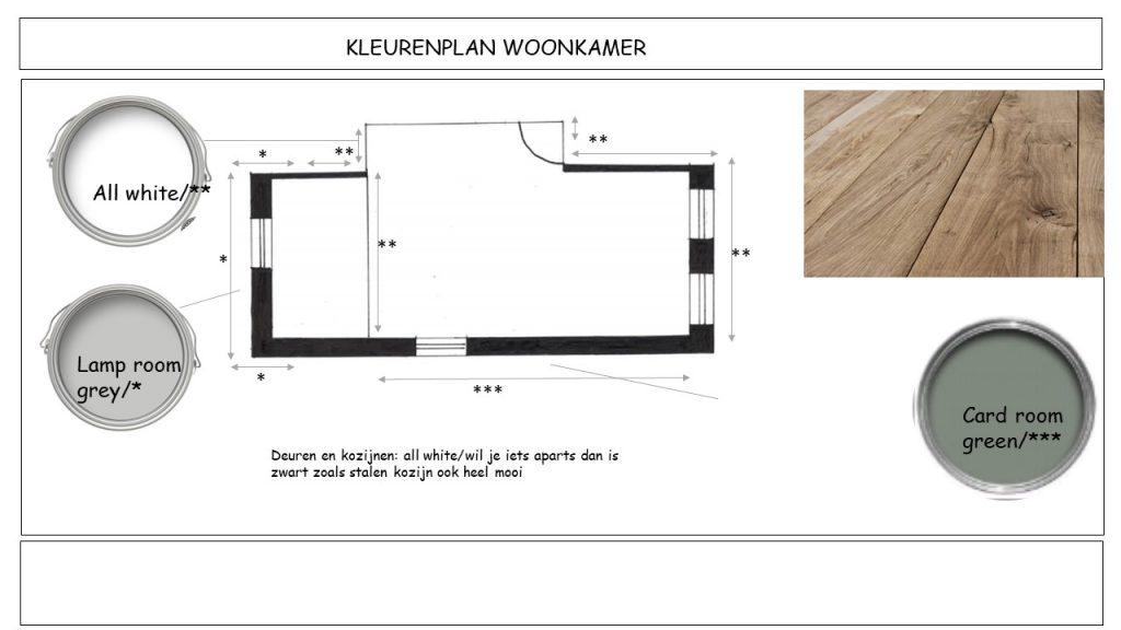 Kleurenplan woonkamer interieurplan Boekel